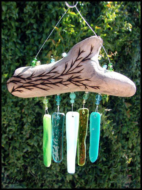 Beadworx  Driftwood and Glass Mini Wind Chime  by BeadworxAZ, $23.00