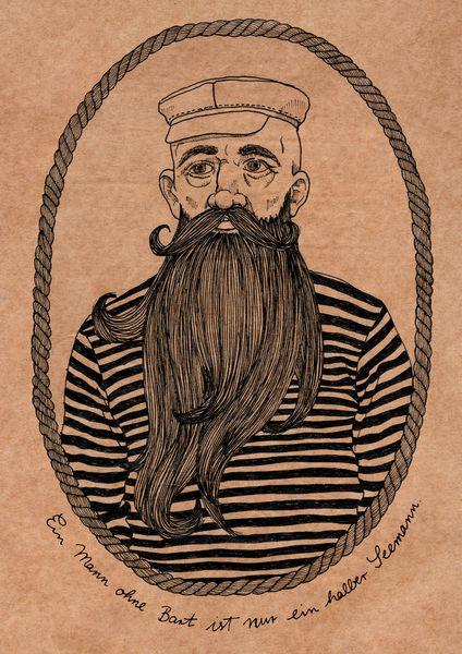 +Leichtmatrose zum Aufhängen…+    Entstanden für das Schnauzjahr, macht sich der bärtige Seemann auch in einem vielfachen seiner  ursprünglichen Gr...