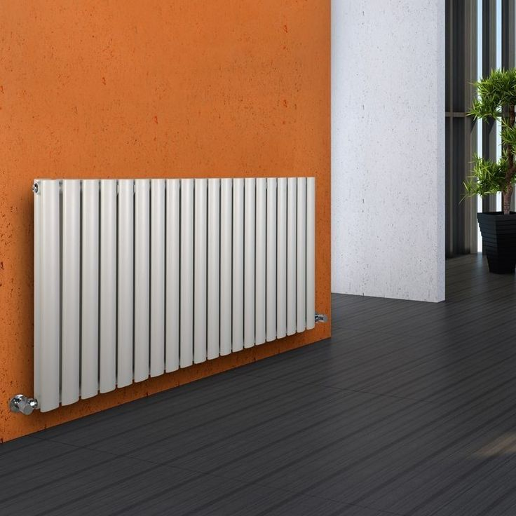 Milano Aruba - Luxury White Horizontal Designer Double Radiator 635mm x 1180mm - White Horizontal Designer Radiator in orange hallway