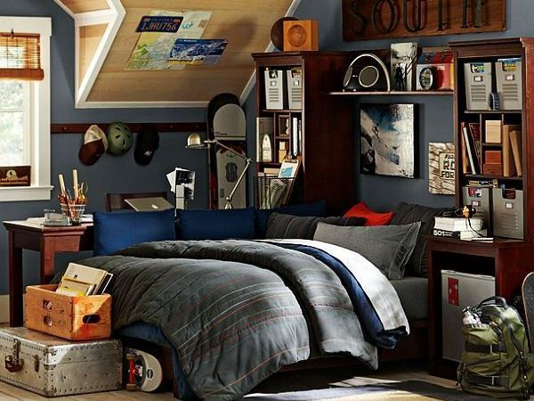 Boy's bedroom idea that is great for lounging, studying, and stashing all the stuff that boys collect. :)