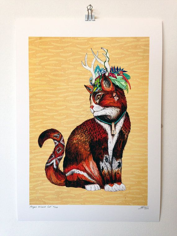 Magus Wizard Cat  A3 Giclee' Print  Limited by SandraDieckmann