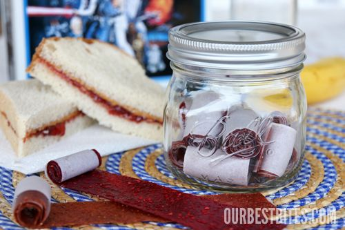 Something new to do with all of the summer fruit, perfect in a mason jar in the car for a kiddie snack emergency.