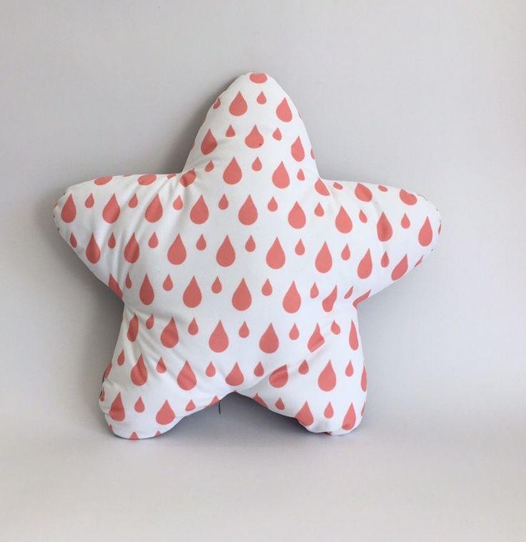 Pink drops star cushion