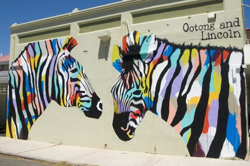 Zebra mural at the Ootong Cafe in South Fremantle