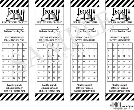 Scripture Reading Chart Bookmark by INKHdesigns on Etsy