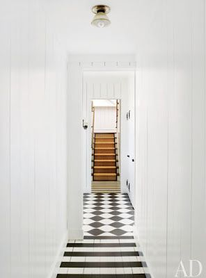b & w: Painted contrast floors and trimmed runner