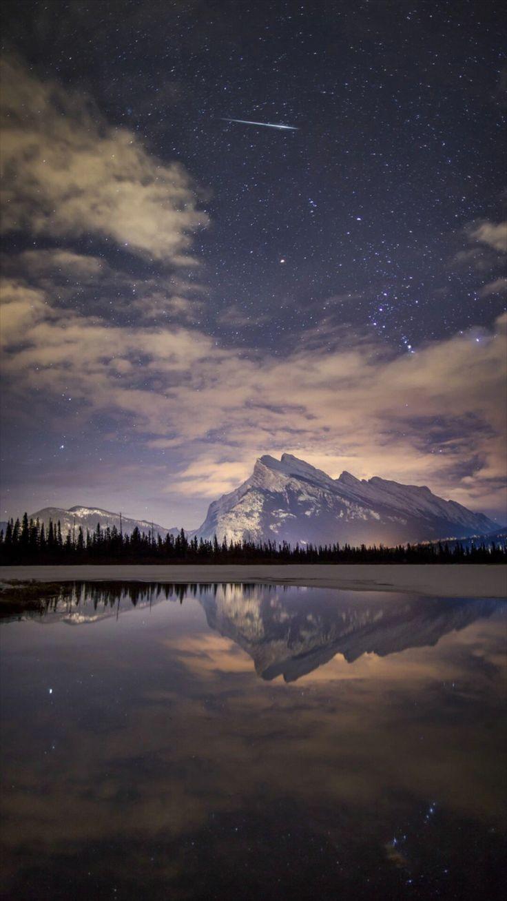 Night Skyview Meteor Mountain Lake Reflection #iPhone #6 #wallpaper
