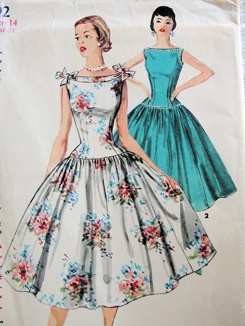 50s BATEAU NECKLINE FULL SKIRTED DRESS PATTERN SIMPLICITY 1192
