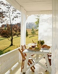 peaceful porchCountry Porches, Sheer Curtains, Porches Curtains, Country Living, Picnics Tables, Back Porches, Outdoor Spaces, Wraps Around Porches, Front Porches
