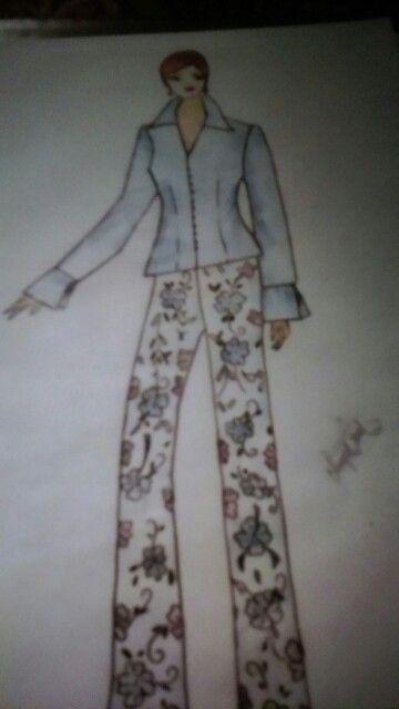 Boceto Pantalon en guipur y blusa en organza