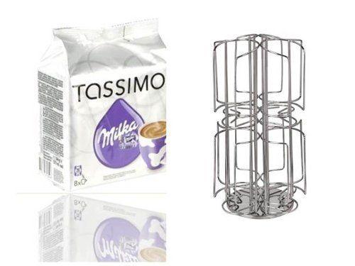 Tassimo milka chocolat chaud, chocolat, capsules, distributeur de capsules à café en acier inoxydable pour 64 capsules tassimo: Support…