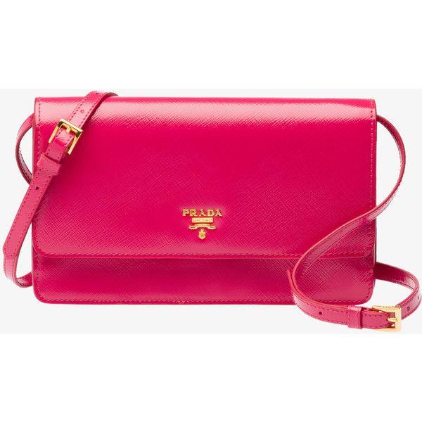 PRADA Small Bag ($960) ❤ liked on Polyvore featuring bags, handbags, shoulder bags, peony pink, women, pink shoulder handbags, pink purse, pink shoulder bag e zipper shoulder bag