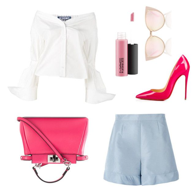 """""""Pop2"""" by thelomthethwa on Polyvore featuring Christian Louboutin, Fendi, Jacquemus, RED Valentino and MAC Cosmetics"""