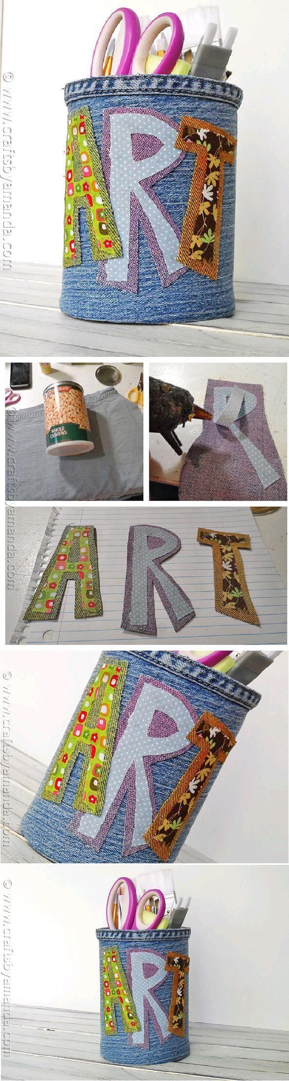 DIY Tutorial: Diy back to school / DIY Denim Pencil Holder