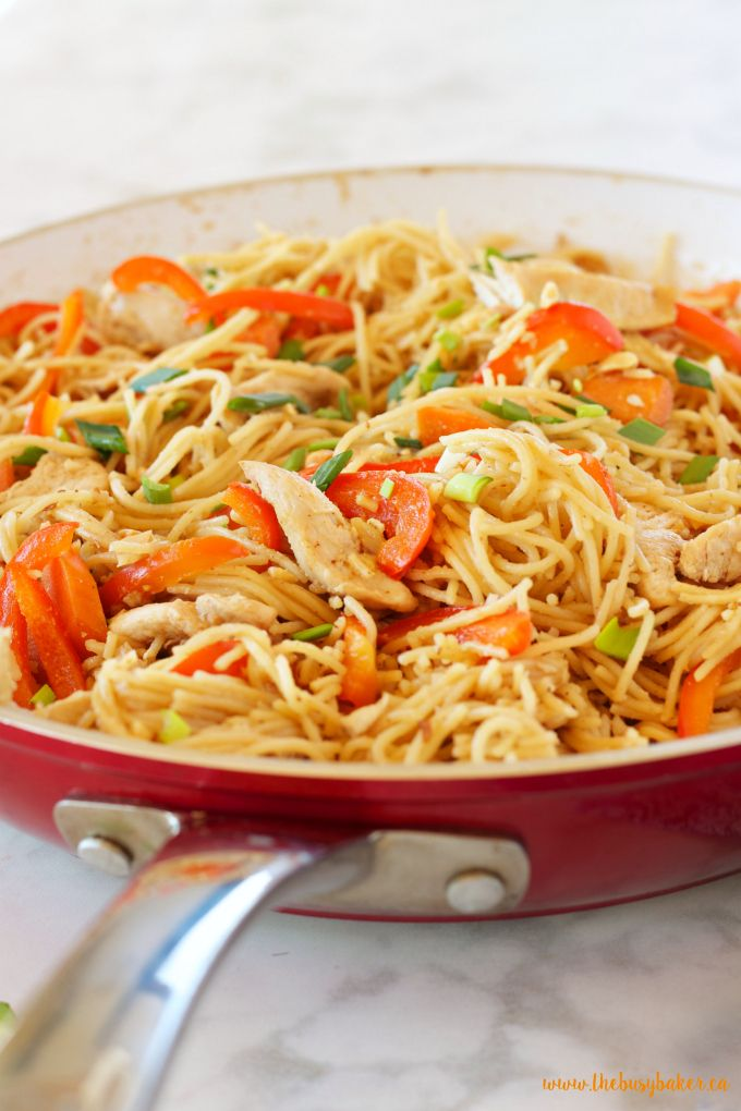 This Easy One Pan Kung Pao Chicken Pasta is a super easy Asian-inspired weeknight meal recipe that the whole family will love! And it's made with basic pantry staples and simple ingredients!