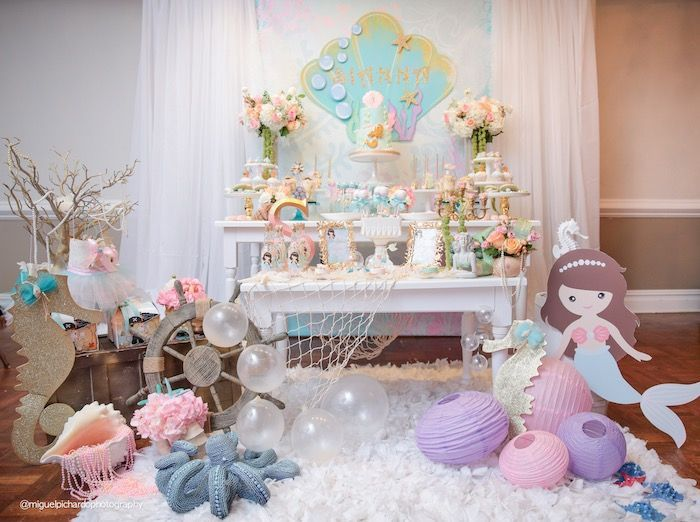 Partyscape from Pastel Mermaid Birthday Party at Kara's Party Ideas. See the ocean of details at karaspartyideas.com!