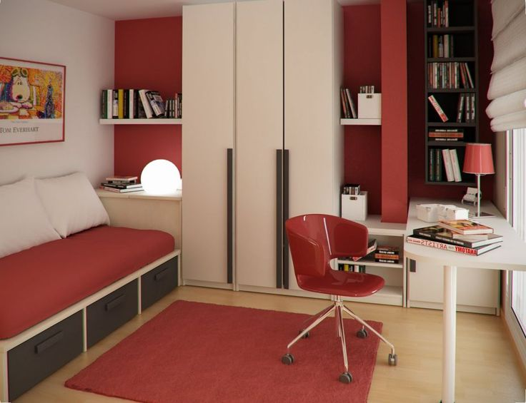 Smart Space Saving Ideas For Cool Small Kids Rooms : Red And White  SpaceSaving Kids Bedroom With Functional Long Sofa And Minimalist Study Desk
