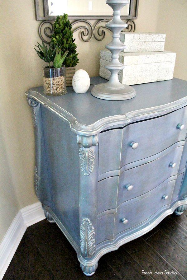 Superb Blue Metallic Painted Furniture | Shiny Silver Blue Metallic Patina Dresser  | Furniture Painting | Pinterest | Painted Furniture, Metallic Painted  Furniture ...