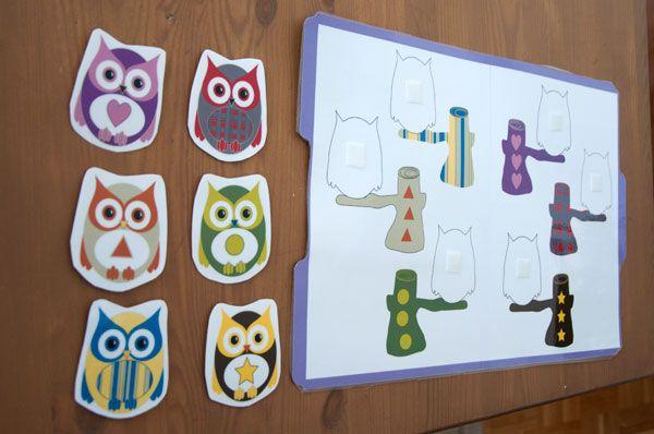 Free printable Matching Owls file folder game