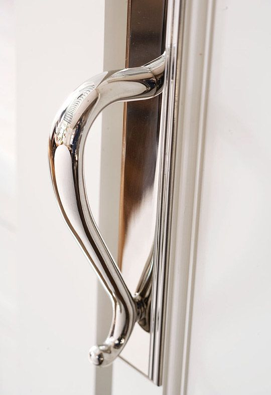 "Fab Kitchen With Soaring Ceiling - Traditional Home®  Refrigerator hardware, handles (""Springfield Door Pull""/Polished Nickel #2617.140): Baldwin Hardware, 800/566-1986, baldwinhardware.com."