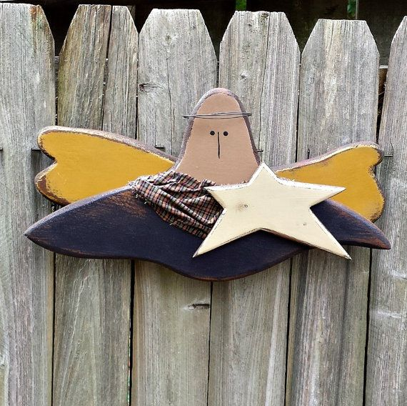 Primitive  Angel  Handmade  Wood  Wall by GypsyWindPrimitives