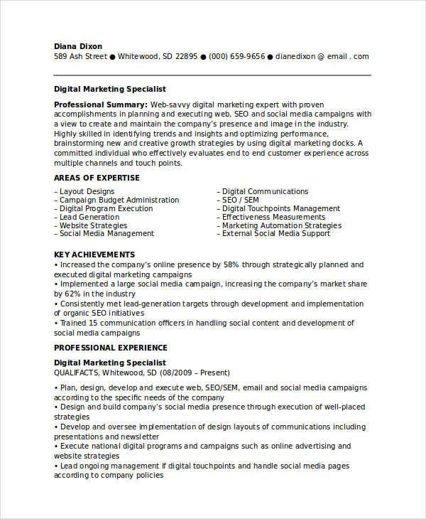 Digital Marketing Specialist Resume Marketing Resume Samples For Successful Job Hunters It Is An Irony While Marketer Marketing Resume Sample Resume Resume