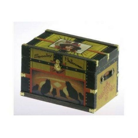 Lithograph Wooden Trunk Kit www.teeliesfairygarden.com Legend has it that a moon fairy once hid a valuable item inside this lithograph wooden trunk. Every Halloween, other fairies would try to open the trunk with a spell. Let yours join in the fun. #fairyhalloween