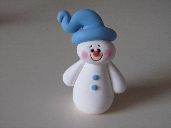Polymer Clay Christmas Snowman. $8.00, via Etsy.