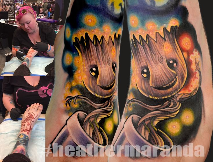 Baby Groot tattoo by Heather Maranda, Guardians of the Galaxy, Marvel, Area 51 Tattoos