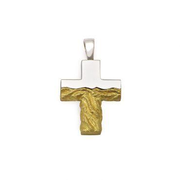 Μοντέρνος βαπτιστικός σταυρός unisex χρυσός Κ14 με ματ & λουστρέ επιφάνεια και λευκό σειρέ | Βαπτιστικοί σταυροί ΤΣΑΛΔΑΡΗΣ στο Χαλάνδρι #βαπτιστικός #σταυρός #βάπτισης #unisex