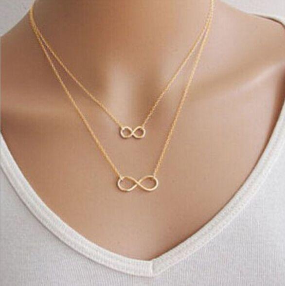 2016 Hot Fashion Choker Chain Necklace Gold plated Bisuteria Mujer Double Infinity Pendants Necklace For Women N296 //Price: $7.95 & FREE Shipping // Get it here ---> https://bestofnecklace.com/2016-hot-fashion-choker-chain-necklace-gold-plated-bisuteria-mujer-double-infinity-pendants-necklace-for-women-n296/    #Necklace