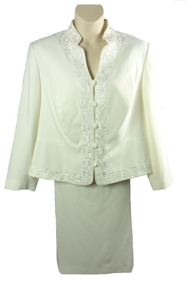 Womens John Meyer Collection Off-White Mature Bride Wedding Suit Plus Size 24W…