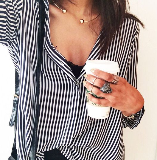 open choker + stripe blouse