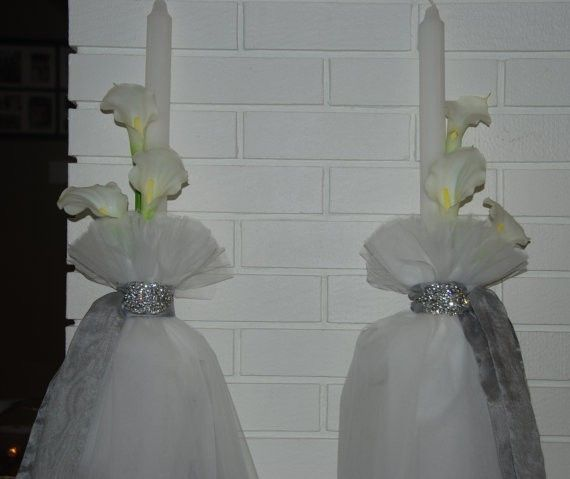 Crystal & Calla Lily Wedding Lambades $280.00 at the Greek Wedding Shop ~ http://www.greekweddingshop.com/