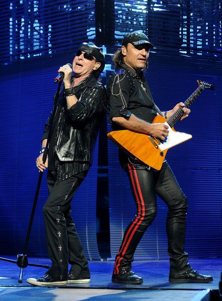 Matthias Jabs with Klaus Meine. Matthias Jabs of the Scorpions performs at The Nokia Theatre at L.A. Live on July 31, 2010 in Los Angeles, California.