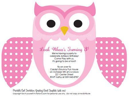 printable kids birthday invitations pink owl free party - Free Printable Kids Birthday Party Invitations Templates