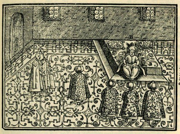 The #Ottoman Sultan giving audience to the #German diplomats of the 1578 mission.