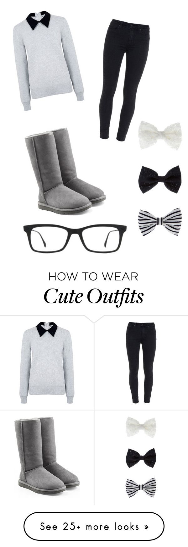 """Cute outfit"" by mayajae on Polyvore featuring Edit, Paige Denim, UGG Australia, Accessorize and Ray-Ban"