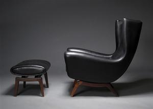 Illum Wikkelsø - hvilestol model 110 samt skammel