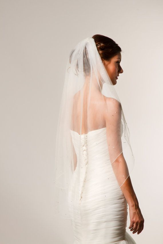 Fingertip veil with blusher, double tier veil with pencil edge, Swarovski rhinestones and Crystals along edge, serged edge, bridal veil. on Etsy, $143.60