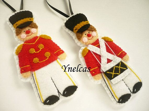 Felt Soldier Felt Christmas Ornament Set of 2 by by ynelcas, $25.00