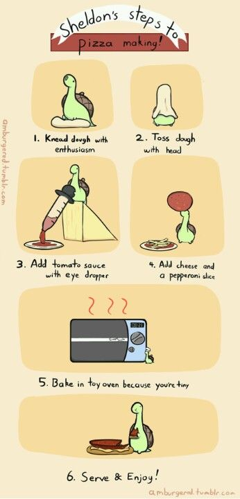 How to make a pizza with Sheldon the Tiny Dinosaur