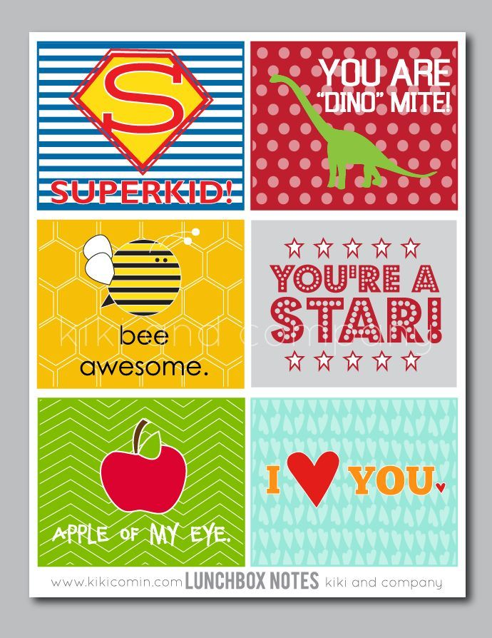Printable Lunch Box Notes by kikicomin.com | Print a few and place their lunches for a mid day smile. Back to School Free Printables found at TodaysCreativeLife.com