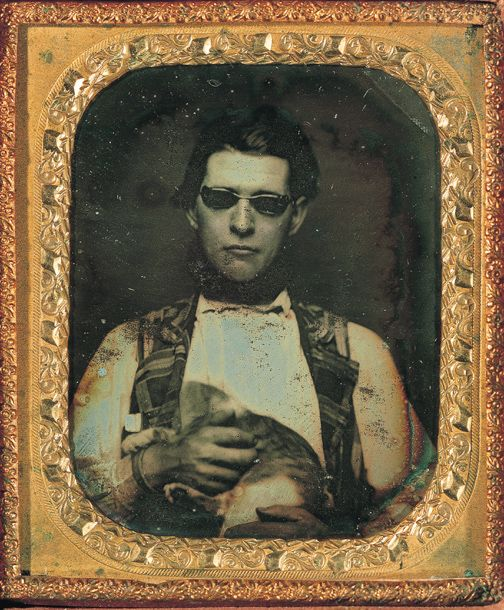 """ca. 1850, [daguerreotype portrait of a blind gentleman holding a cat], or as MyDauguerrotypeBoyfriend.tumblr.com puts it, """"Hottest blind-gentleman-holding-a cat daguerreotype you will see all day."""""""