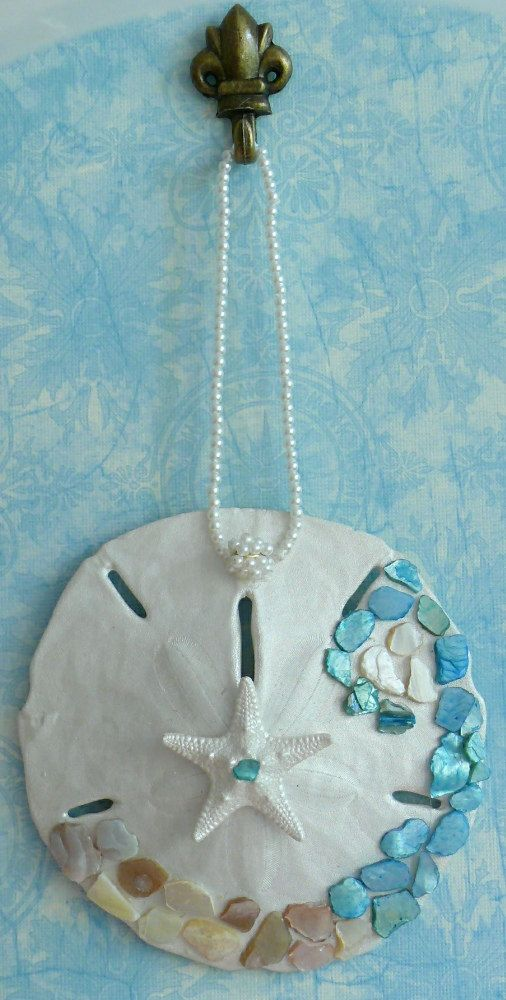 Sand Dollar Ornament Coastal Decor Embellished by CoastalGlamour, $10.00