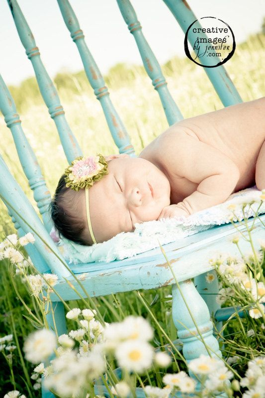 Parisian Vintage flower hairbow  Beautiful photo, love the blue chair in a field of flowers.. And bubs
