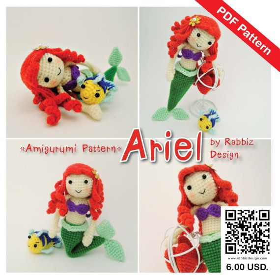 Amigurumi Disney Princess : PDF Pattern - Amigurumi Princess Ariel The Little Mermaid ...