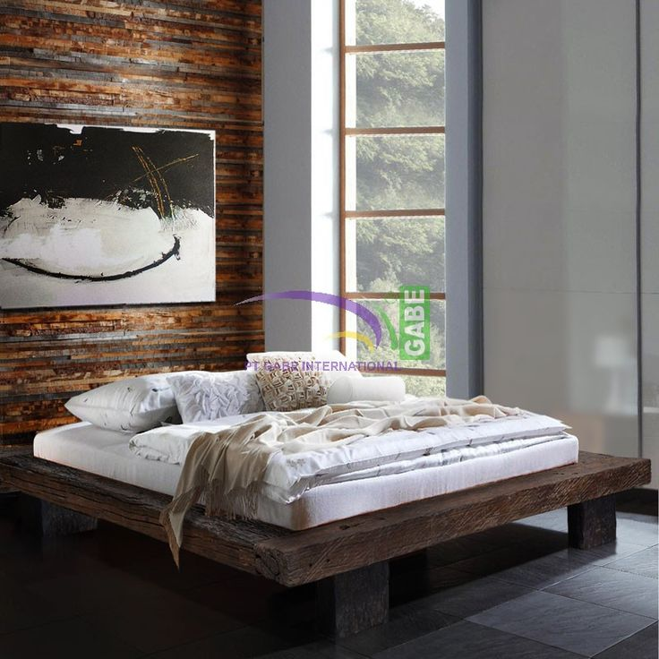 Product Code: ID02205 Product Description Any one who love's #rustic Products, don't miss to have or collected of these #Lowbeds, This beds that are quite unique and looking unbelievably rustic, bed itself made from #solidwood of beam #relltrain, which the wood of his own already eaten age, so the wood form the erosion, as seen in this picture.Colored only with natural teak oil , to avoid of dust on the grain of the wood.  Mattras dimension for this bed use for  queen Size 160 cm x 200 Cm…