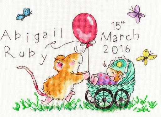Squeaky Wheels Birth Sampler Cross Stitch Kit £21.75 | Past Impressions | Bothy Threads