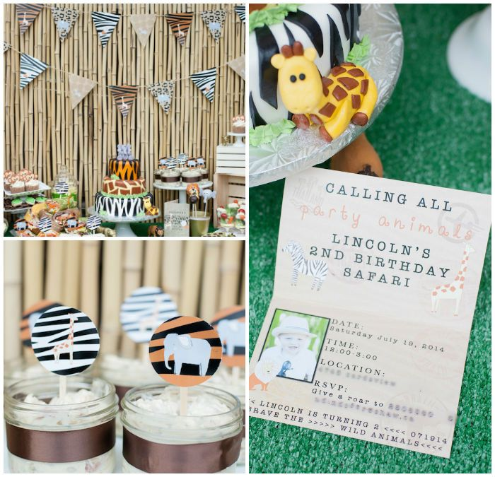 Gold Toned Jungle Safari themed birthday party via Kara's Party Ideas KarasPartyIdeas.com Cake, supplies, favors, cupcakes, banners, invitation, and more! #safari #jungle #junglesafariparty #zooanimals #safariparty (2)